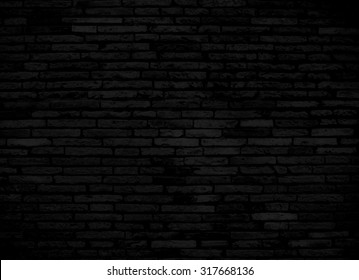 Black brick wall for background or texture
