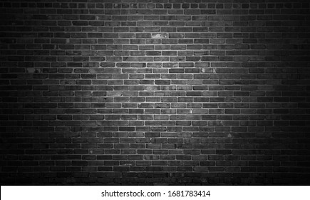 Black brick wall backgrounds, brick room, interior texture, wall background.