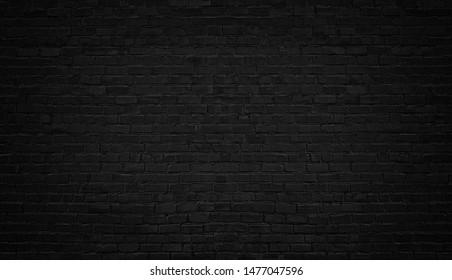 Black brick wall, brickwork background for design.