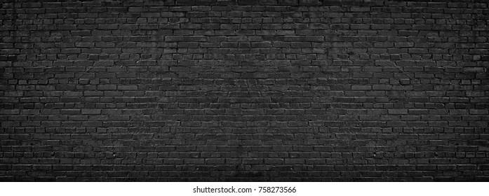 black brick wall, brickwork background for design - Shutterstock ID 758273566