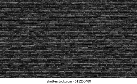 Black brick wall texture, brick surface as background