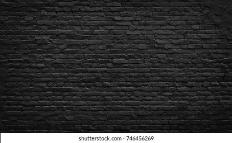 Black brick wall texture, brick surface for background.