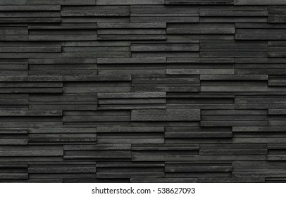 Black bricks slate texture background, slate stone wall texture
