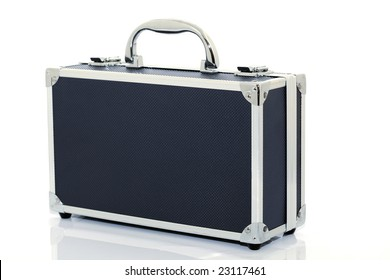 black  briefcase isolated on white background with reflection