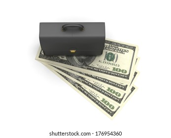 Black briefcase on dollar bills