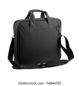 Black briefcase on a white background.