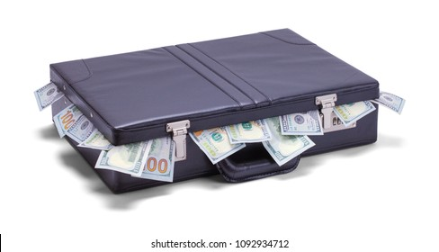 Black Briefcase Stuffed with Cash Isolated on a White Background.
