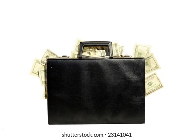 black briefcase stuffed with cash isolated on white
