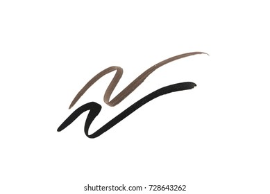 Black and brown color Eye liner stroke on white background