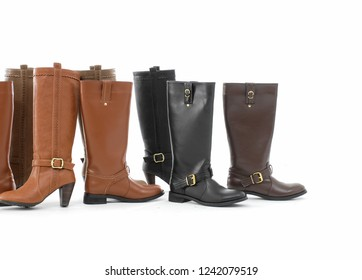 black and Brown female leather boots isolated on white background