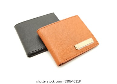Black  and brown leather men purse on a white background