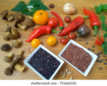 Black and brown rice with mushrooms pepper tomatoes cooking