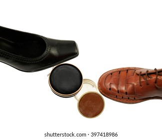 Black and brown Shoes with Shoe-paste