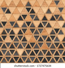 Black and brown wooden wall with triangle pattern. Wood texture.