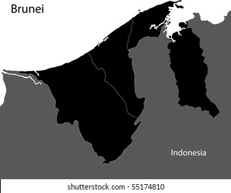 Black Brunei map separated on the provinces
