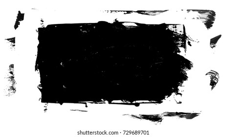 Black brush stroke and texture. Smear brush on a white background.