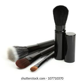black brushes for make-up isolated on white