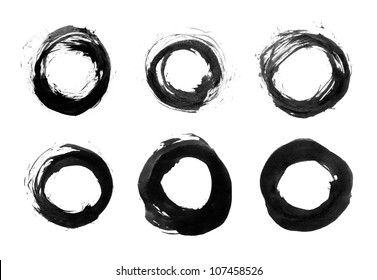Black brushstroke in form of circle. Drawing created in ink sketch handmade technique. Isolated shapes on white background.