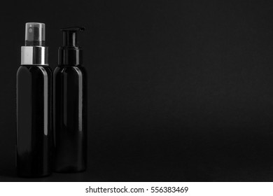 Black bubbles with makeup on black background