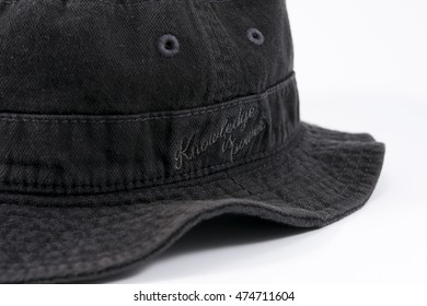 Black bucket hat with embroider quote