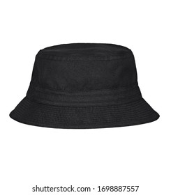 Black bucket hat on white background.