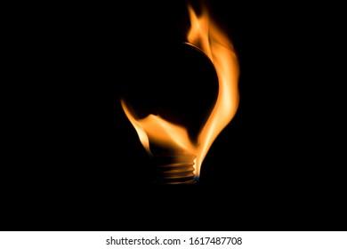 black bulb burning on fire