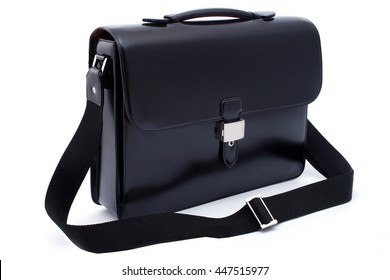 Black business briefcase  with shadow on white background and clipping path