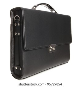 Black business briefcase with shadow on white background