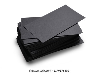 black business cards isolated on a white background