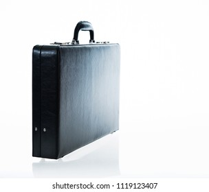 Black business leather briefcase isolated on white background.