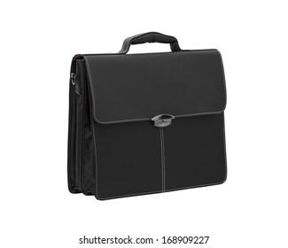 Black business leather briefcase isolated on white.