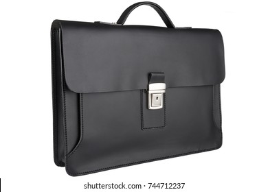 Black business leather briefcase isolated