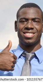 Black Business Man With Thumbs Up