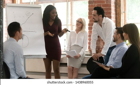 Black business woman manager coach training sales team giving flip chart presentation teaching diverse staff people, african female mentor speaker consulting employees at multiracial workshop meeting