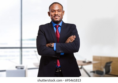 Black businessman in his office