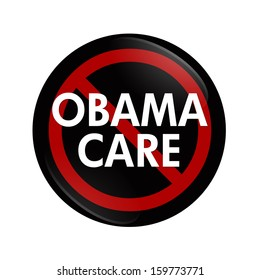 A black button with word Obamacare and not symbol isolated on white, Stopping Obamacare