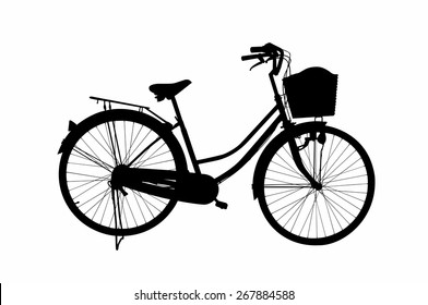 Black Bycicle on white background , Illustator icon