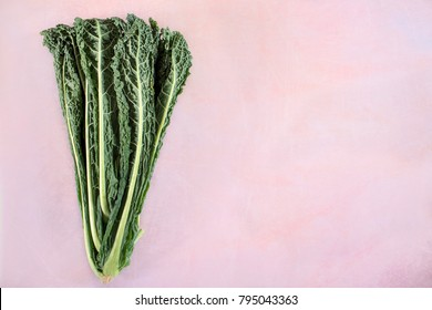 Black cabbage or kale, top view shot, flat lay with copy space.