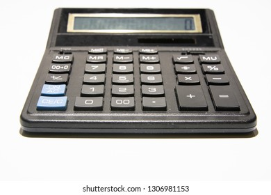Black calculator, office supplies, stationery on white background.