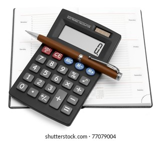 Black calculator with a pen in a notebook
