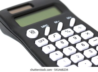 A black calculator with white keys isolated on a white background