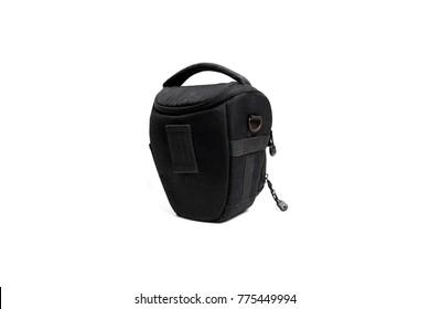 Black Camera bag isolated on white background.