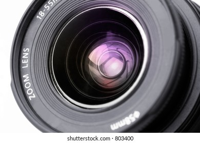 Black camera lens with blinks
