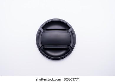 Black camera lens cap