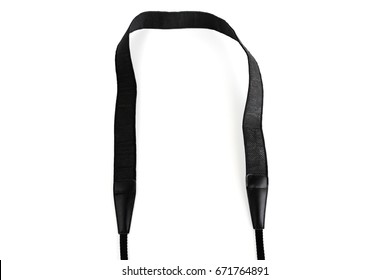 Black camera strap standard design equipment strength support heavy size for professional photographer shoulder sling belt easy shoot photo on white isolated background.