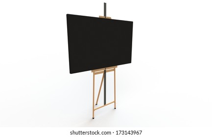 Black canvas on easel isolated on white