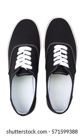 Black canvas sneakers, Top view, isolated with clipping path