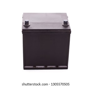 Black car accumulator battery isolated on a white background. Acid battery,12 volts supply