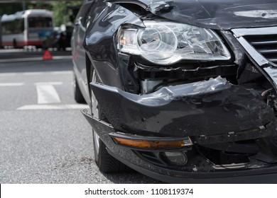 black car after collision
