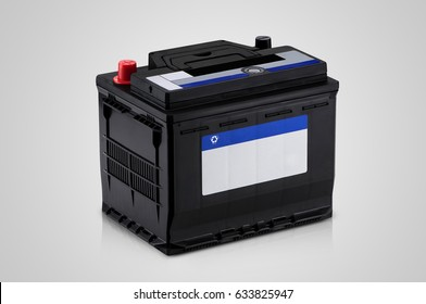 black car battery closeup on a white background